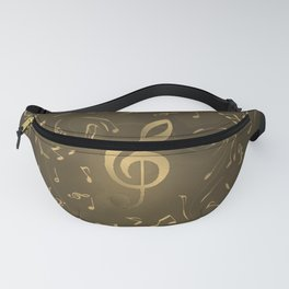 gold music notes swirl pattern Fanny Pack