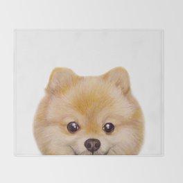 Pomeranian Dog illustration original painting print Throw Blanket