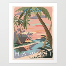 Aloha Hawaii Travel Poster Art Print