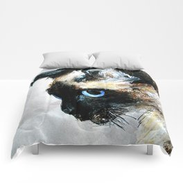 Siamese Cat Acrylic Painting Comforters