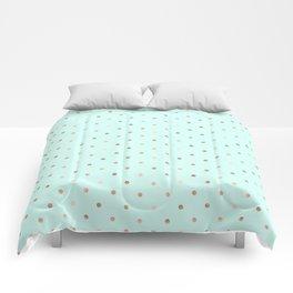 Mint & Rose Gold Polka Dot Pattern Comforters