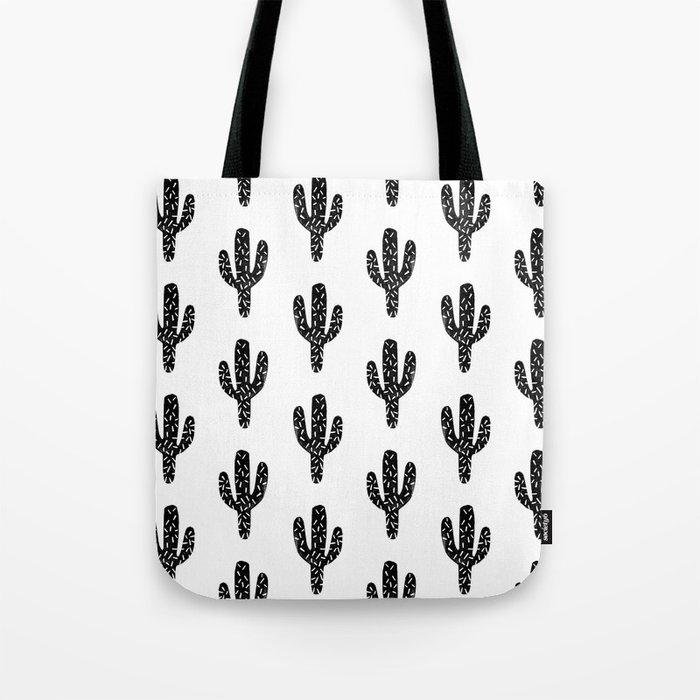 Linocut Cactus black and white minimal modern printmaking trendy hipster canvas dorm college art Tote Bag