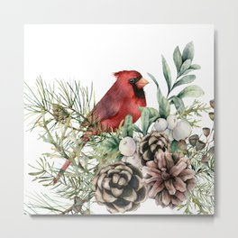 Art Watercolor, Red Cardinal and Floral Prints Metal Print