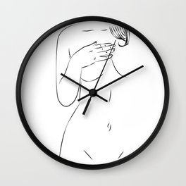 One Line Sexual, Nude Female Body, Minimalist Naked Art,  Wall Clock