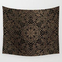 Black Gold Mandala Wall Tapestry