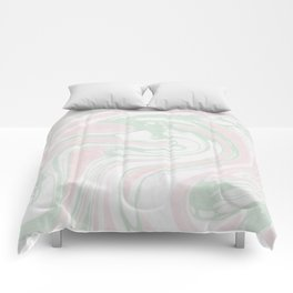 Paper Marbling Marble Effect Swirl Pink Green Comforters