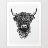 Art Prints featuring Highland Cattle by Thea Nordal