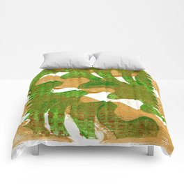 Green on Gold Comforters