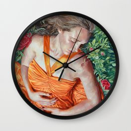A Garland of Slumber, oil painting portrait of sleeping beauty in roses, orange dress, summer, angel Wall Clock