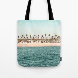Vintage Newport Beach Print {1 of 4}   Photography Ocean Palm Trees Teal Tropical Summer Sky Tote Bag