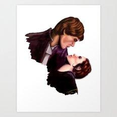 Star Wars, Han & Leia The Empire Strikes Back Art Print