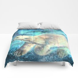 Floating polar bear Comforters