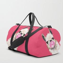 Bubble Gum Sneaky Llama in Red Duffle Bag