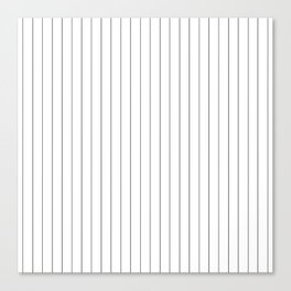 White Black Pinstripes Minimalist Canvas Print