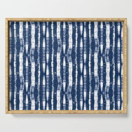 Shibori Stripes Indigo Blue Serving Tray