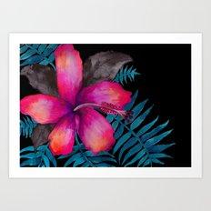 Pink Hibiscus Flower - BLACK Art Print