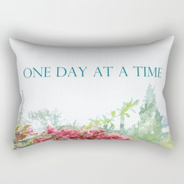 One Day at a Time Fence Flowers Rectangular Pillow