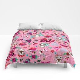 Lucky Cat Maneki Neko , Dragons and Koi fish On Pink Comforters