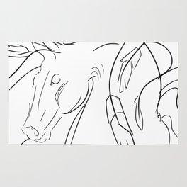 Rearing Horse Line Art Rug