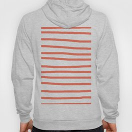 Simply Drawn Stripes in Deep Coral Hoody