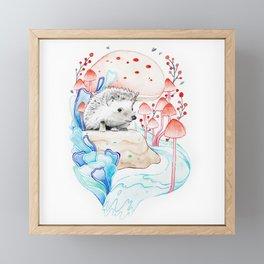 Hedgehog in Mushrooms Framed Mini Art Print