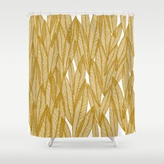 Golden Yellow Leaves Shower Curtain