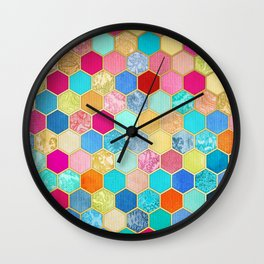 Patterned Honeycomb Patchwork in Jewel Colors Wall Clock
