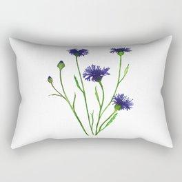 Cornflower, Watercolor Painting Rectangular Pillow