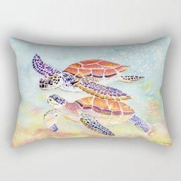 Swimming Together - Sea Turtle Rectangular Pillow