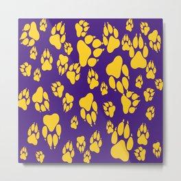 Purple and Gold Tiger Claws Pattern Digital Design Metal Print
