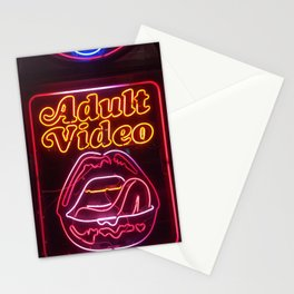 Adult video neon sign decorative photo Stationery Cards