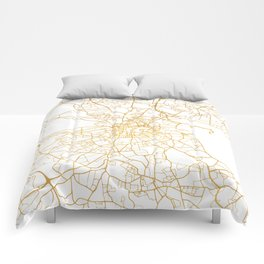 DUBLIN IRELAND CITY STREET MAP ART Comforters