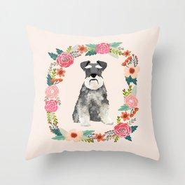 schnauzer floral wreath dog breed pet portrait dog mom Throw Pillow