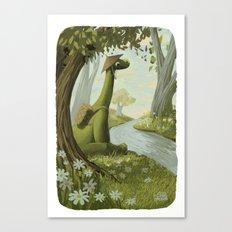 Dinosaur By The Stream Canvas Print