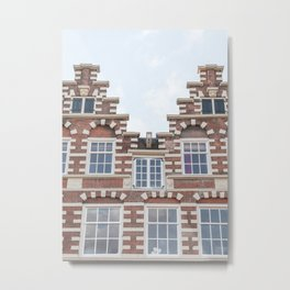 Dutch Architecture In Amsterdam Picture   City Houses In Holland Art Print   Europe Travel Photography Metal Print