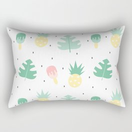 summer pattern background illustration with exotic leaves, pineapples and ice cream Rectangular Pillow