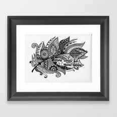Zentangle Feather Framed Art Print