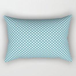 Aquamarine and White Polka Dots Rectangular Pillow