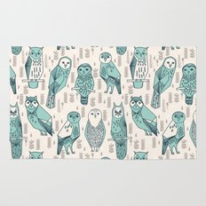 Parliament of Owls - Pale Turquoise by Andrea Lauren Rug