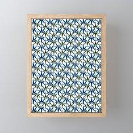 WEED LOVE, BLUE GREY GREEN Cannabis Smoke Marijuana Framed Mini Art Print