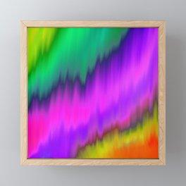 Abstract neon pink aqua violet watercolor brushstrokes Framed Mini Art Print