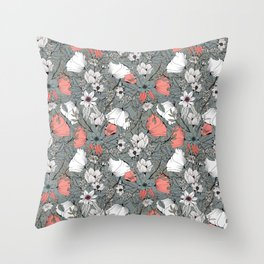Seamless pattern design with hand drawn flowers and floral elements Throw Pillow