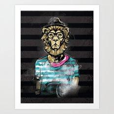 Hipster Lion on Black Art Print