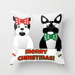French Bulldogs Merry Christmas Throw Pillow