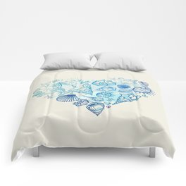 Heart of the shells. Hand drawn illustration Comforters