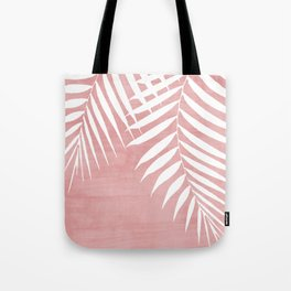 Pink Paint Stroke of Palm Leaves Tote Bag