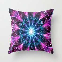 Winter violet glittered Snowflake or flower Background Throw Pillow