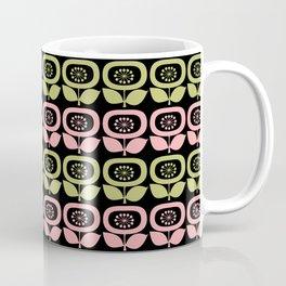 Mid Century Modern Retro Abstract Flowers Pink and Avocado Green on Black Coffee Mug