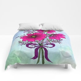 Magenta Cosmos with German Statice Bouquet on Sky Comforters