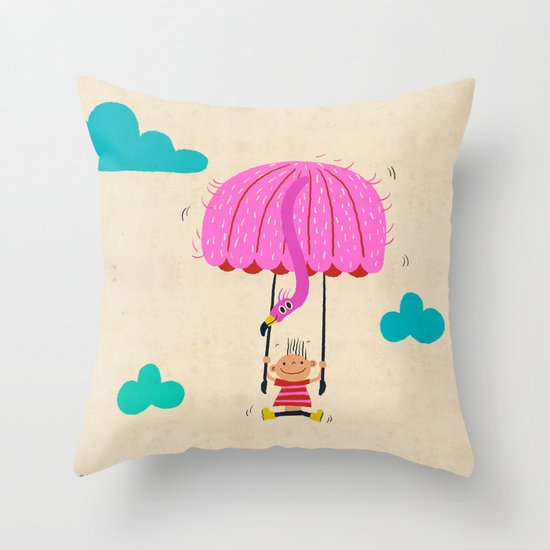 one of the many uses of a flamingo - parachute Throw Pillow
